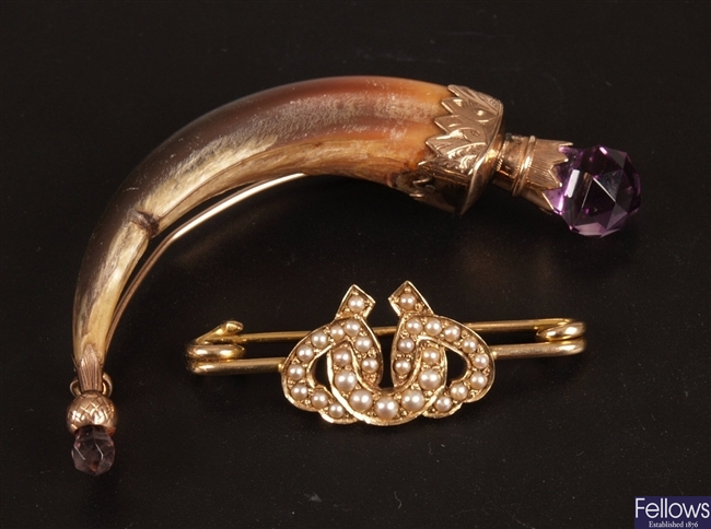 Rose gold mounted animal claw brooch with
