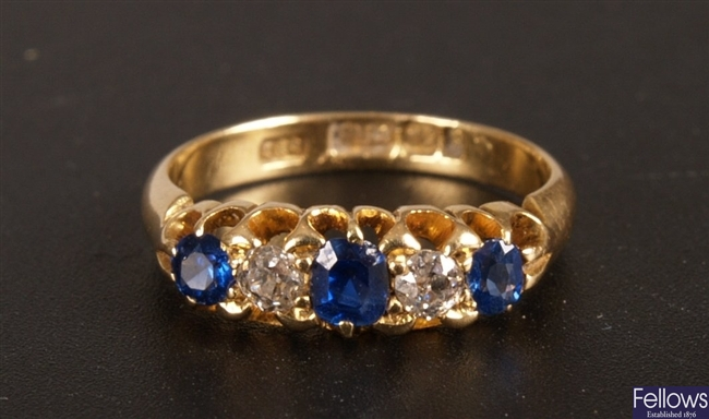 18ct gold five stone sapphire and old cut diamond