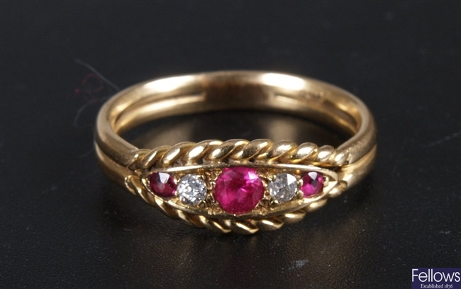 18ct gold five stone ruby and old cut diamond
