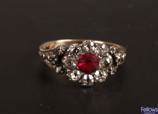 Victorian ruby and old cut diamond nine stone