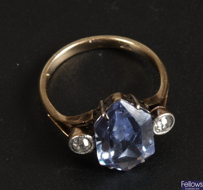 9ct gold fancy cut blue stone dress ring with a