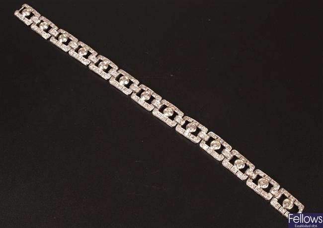 Diamond set Art Deco style bracelet, rectangular