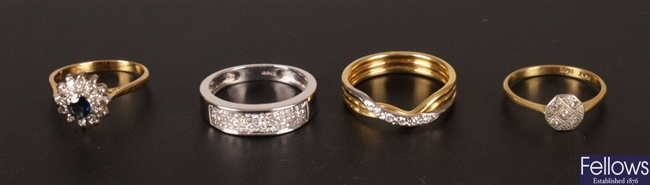 Four 18ct gold diamond set rings, to include a