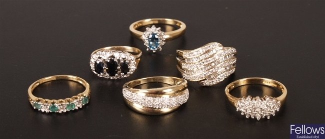Six 9ct gold diamond set rings, to include an