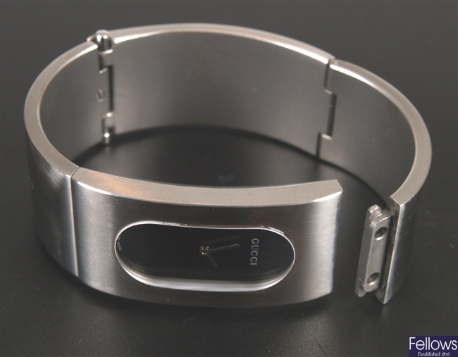 GUCCI - ladie's brushed steel bangle watch with