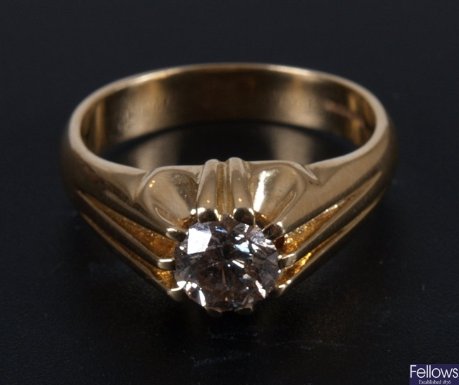 Gentleman's 18ct gold mounted single stone