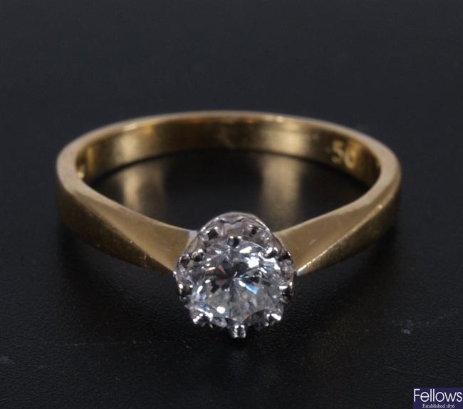 18ct gold single stone diamond ring of 0.50ct