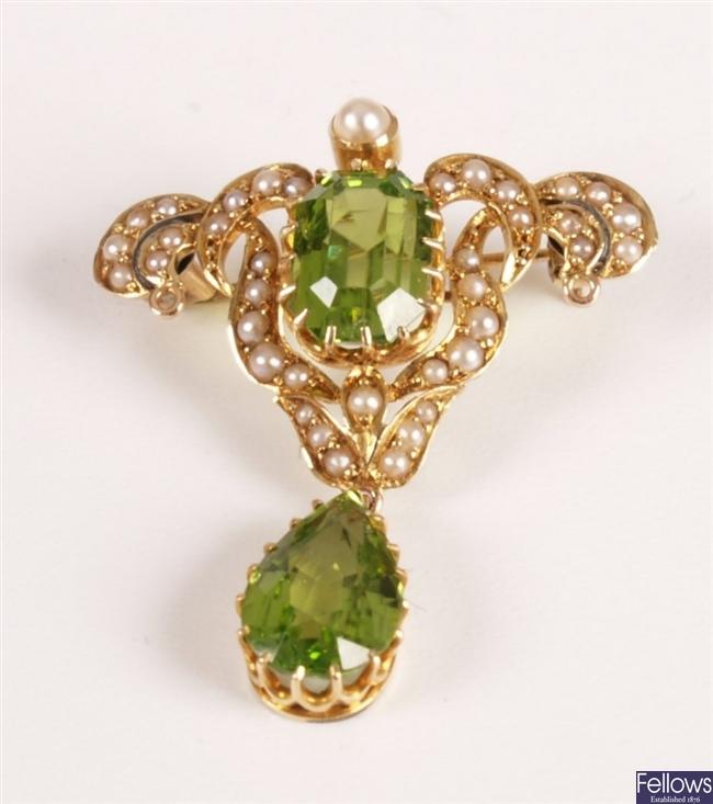 Rectangular peridot and seed pearl Art Nouveau