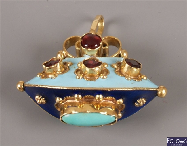 Continental enamel and stone set pendant of