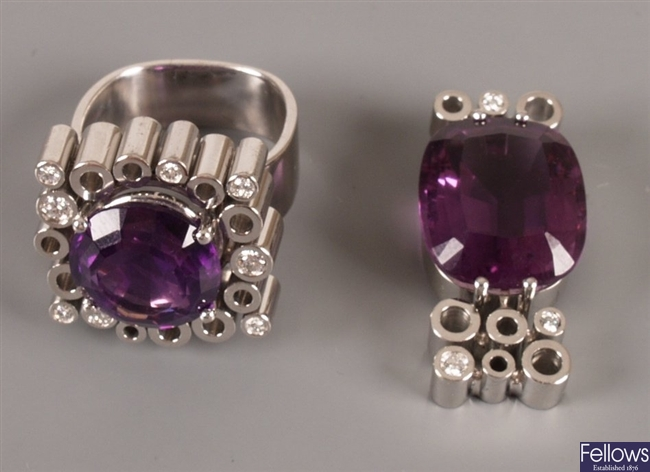 18ct white gold amethyst and diamond set ring, a