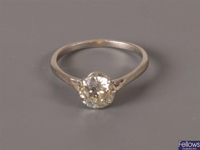 Old European cut single stone diamond claw set