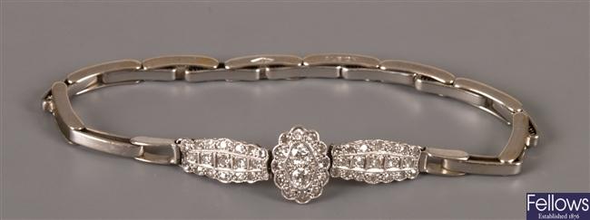 Edwardian diamond half bracelet with a central