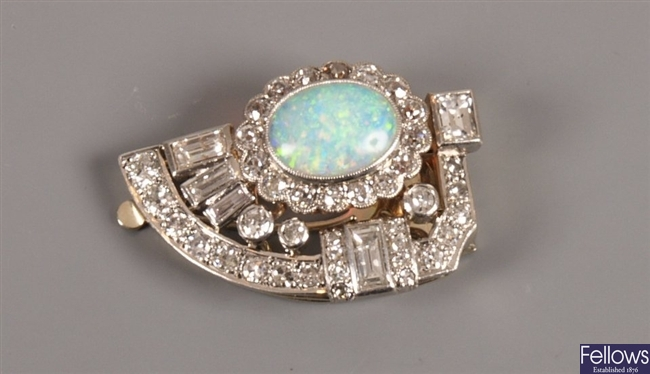 1920's opal and diamond  D-shape clip brooch with