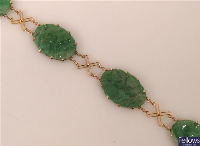 9ct yellow gold bracelet with four oval green