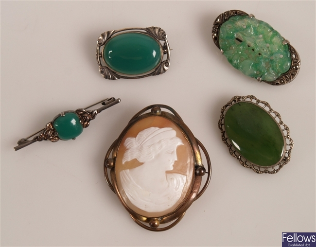 A green jade oval foliate carved marcasite