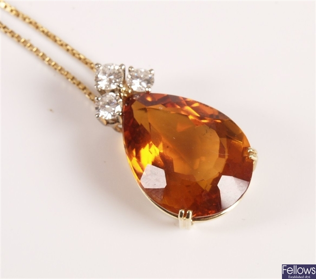 18ct gold mounted large pear shape golden citrine