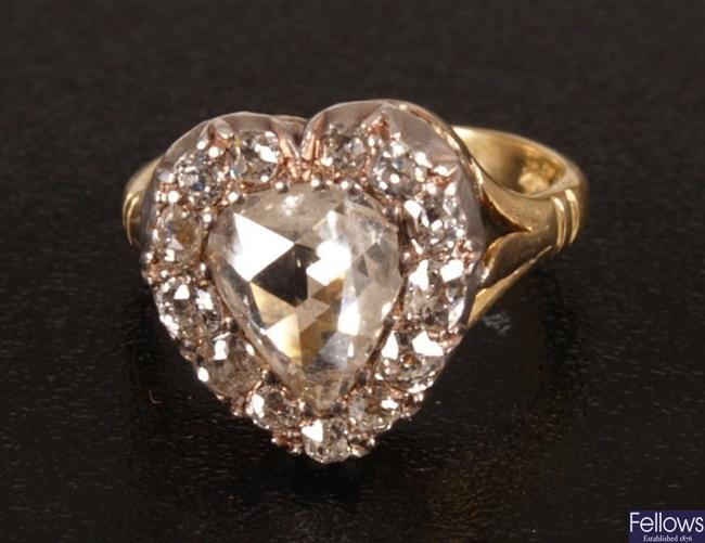 18ct gold heart shape diamond set ring, set a