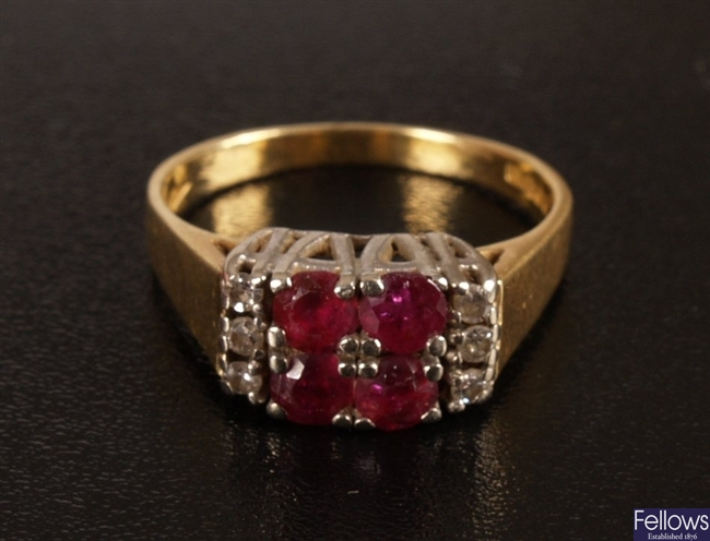 18ct gold ruby and diamond set ring, set a