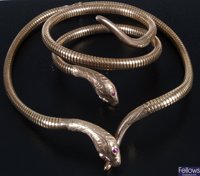 9ct gold snake bracelet in a coil design with