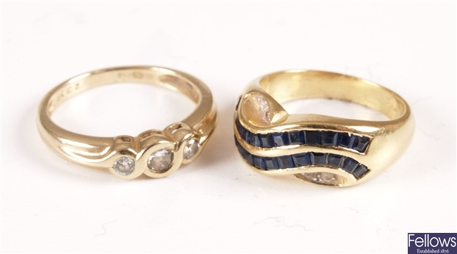 Channel set square cut sapphire and diamond