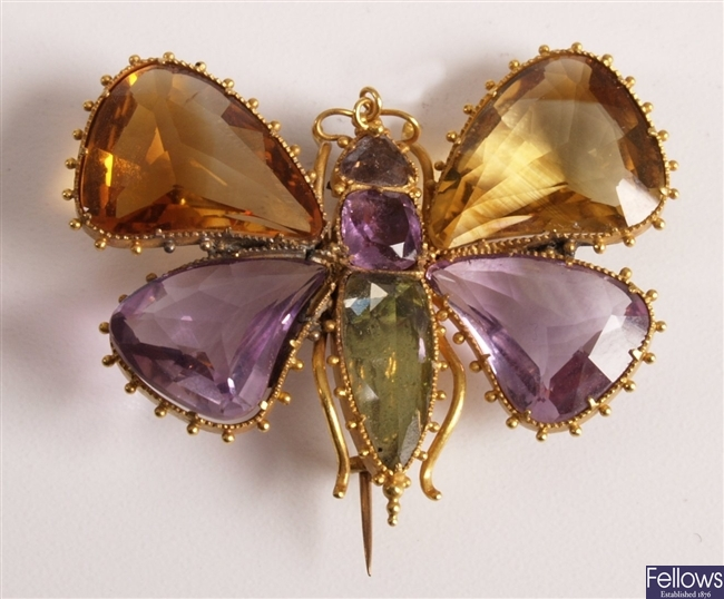 Victorian gold butterfly brooch with citrine and