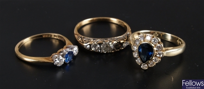 Three diamond rings to include an 18ct gold