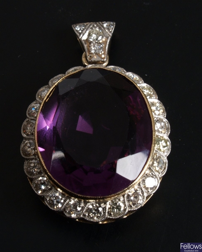 Oval amethyst and diamond pendant - the central