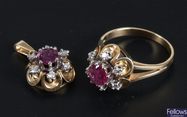 14ct gold ruby and diamond cluster ring and a