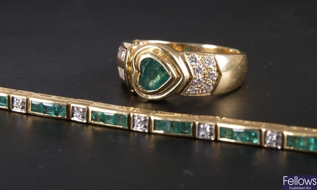 18ct gold emerald and diamond line bracelet (one
