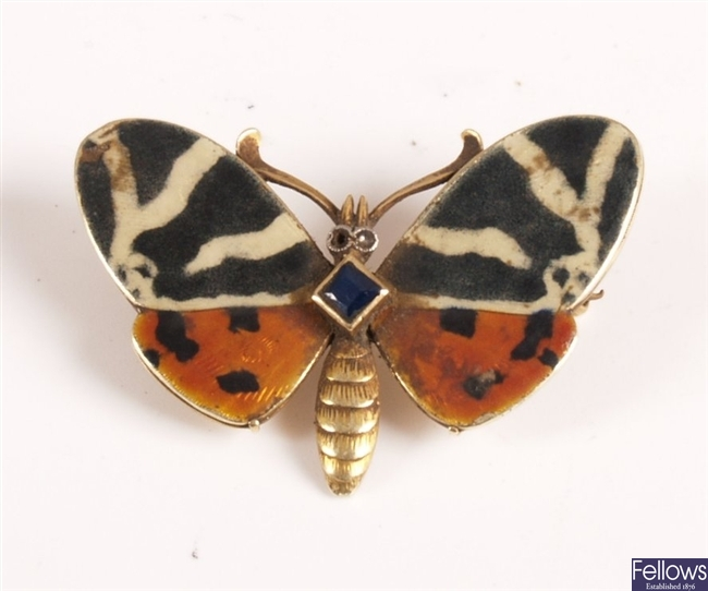 Early 20th century 15ct butterfly brooch with