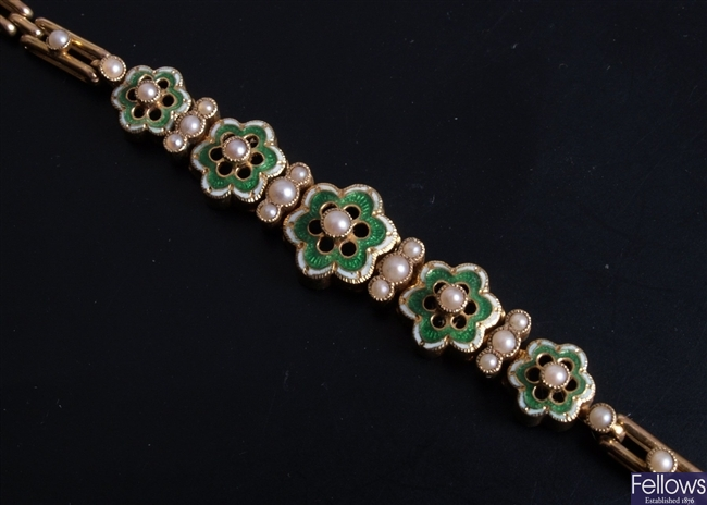15ct gold enamel and seed pearl bracelet
