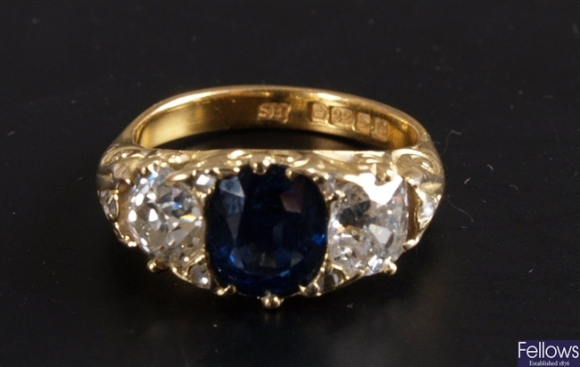 Oval sapphire and old european cut diamond three