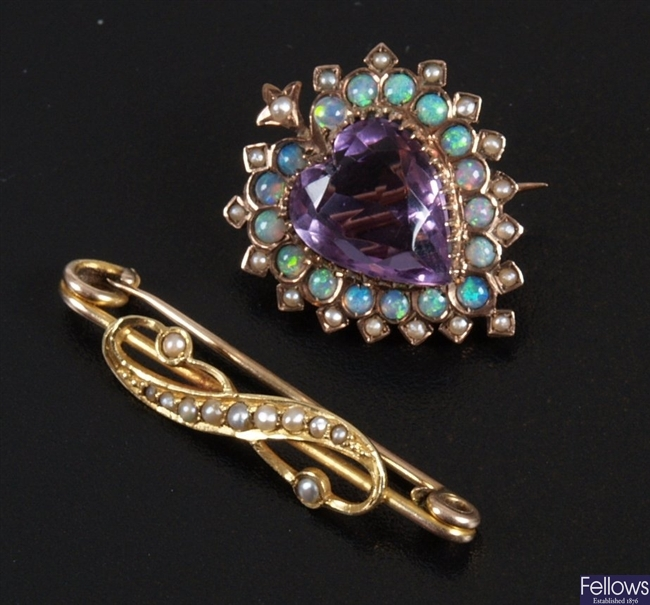 Amethyst, opal and seed pearl brooch, central