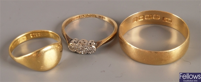 Three rings to include an 18ct gold and platinum