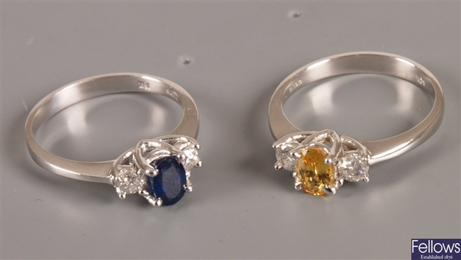 Two 18ct white gold rings to include a three