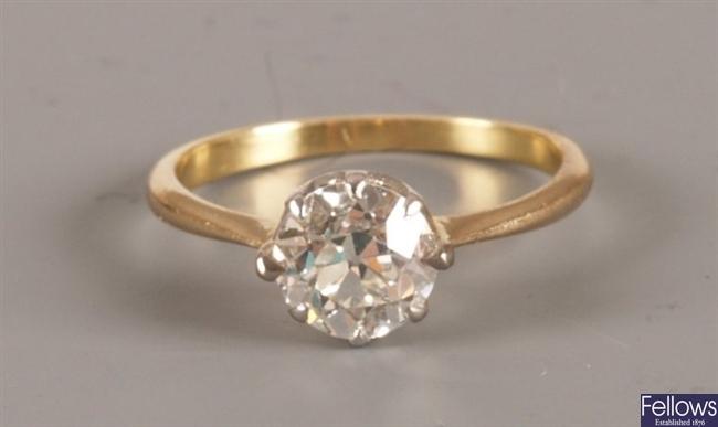 An old European cut single stone diamond ring of