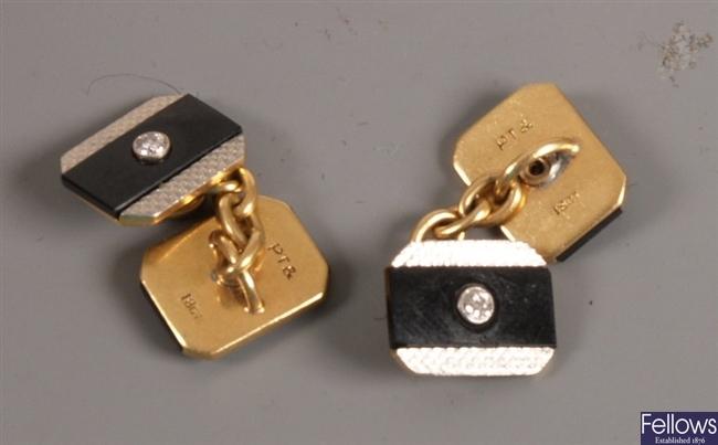Pair of 18ct and platinum rectangular chain