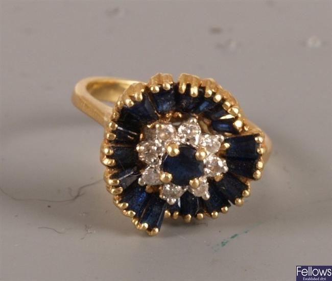 18ct gold sapphire and diamond ballerina cluster