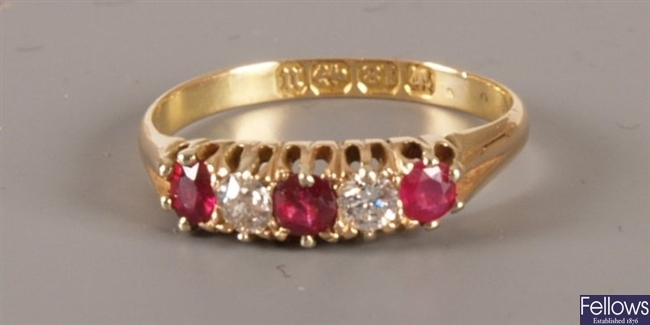 Victorian 18ct gold five stone ruby and diamond