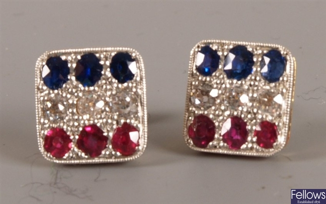 Pair of 18ct gold and platinum fronted square
