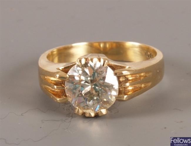Claw set single stone old european cut diamond