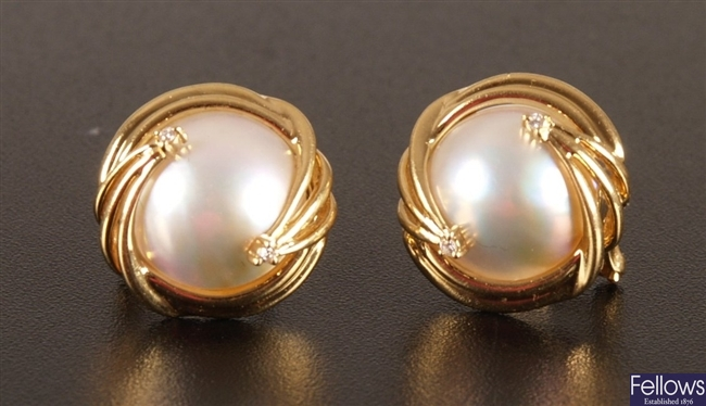 Pair of 18ct gold mounted mabe pearl earrings