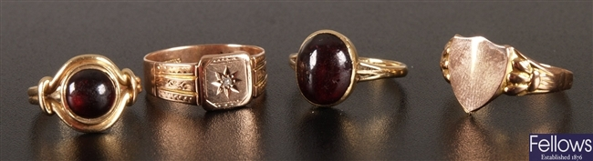 A collection of dress rings to include 18ct