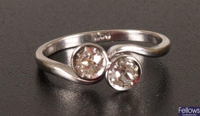 9ct white gold collet set two stone diamond