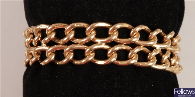 15ct gold two row twisted curb link bracelet with