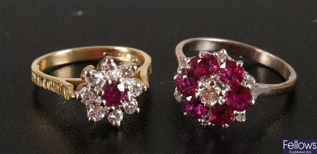 18ct gold ruby and diamond nine stone cluster
