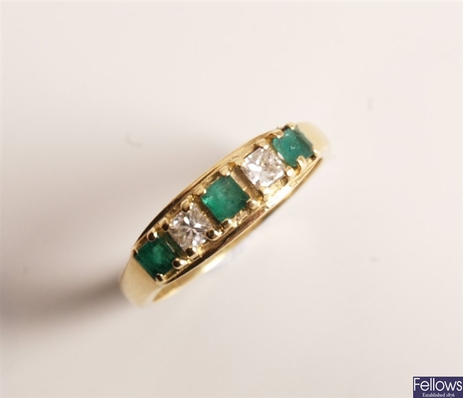 18ct gold five stone emerald and diamond ring