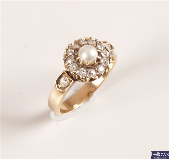 18ct gold mounted pearl and rose cut diamond