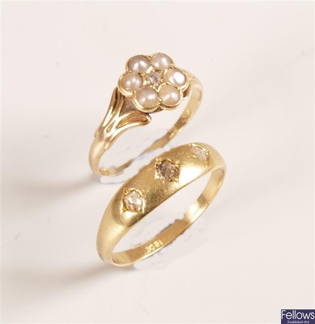 18ct gold three stone rose cut diamond gypsy