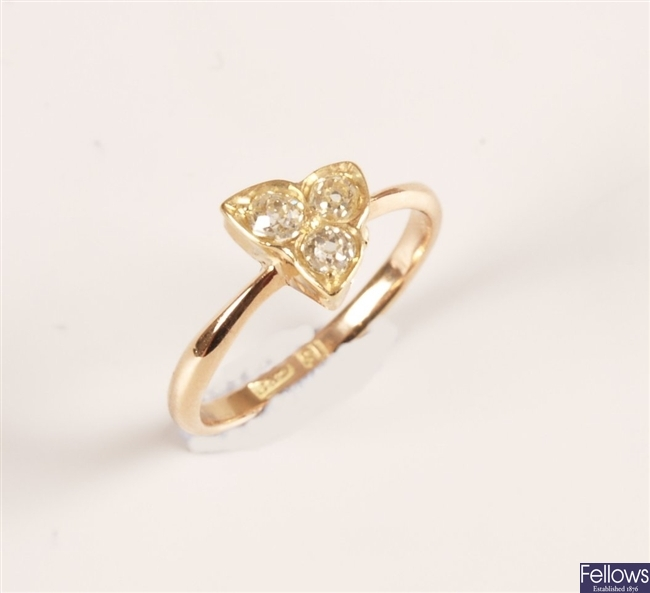 15ct rose gold band ring later set with a trefoil